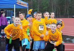 A group who participated in the kindergarten through sixth grade races pose during the 13th annual Viking Sports Parents walk/road race on Saturday, April 2, 2016 at East Bridgewater Junior Senior High School.
