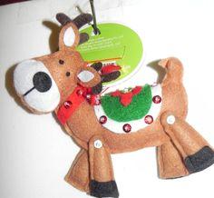 "New  Christmas Ornament: Felt Stuffed Reindeer Green Saddle 6"" Tall LOOK Unique"
