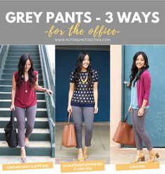 3 Business Casual Outfits with Grey Pants