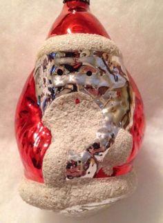 ANTIQUE-VTG-MERCURY-GLASS-ROTUND-SANTA-CHRISTMAS-ORNAMENT-HANDPAINTED-POLAND