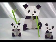 Origami Panda with (baby panda) 折り紙 パンダ (赤ちゃんパンダといっしょ) with sound - YouTube
