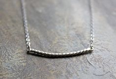 Twisted Bar Necklace  Sterling Silver by SketchLines on Etsy