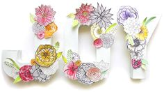 A bare wall is an open canvas for creativity. Let your imagination run wild and create your own Beautiful Paper Flower Letters. Decorate the letters with a variety of flowers of your choice. If drawing flowers is not your forte, don't fret. Flower Letters, Diy Letters, Letter A Crafts, Paper Flowers Diy, Flower Crafts, Paper Roses, Yarn Crafts, Paper Crafts, Alisa Burke