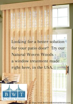 BestWindowTreatments.com - Made in USA! Custom Woven Woods Natural Window Treatments Averte Panel System. Perfect Solution for Patio Doors, Wall to Wall Windows, French Doors or a simple, Unique Solution for your Window. Available as a panel system, grommet panels, roman shades, top treatments - all with lining options for extra privacy. Contact our USA based, certified staff to help with your installation and measuring questions. We offer ready-made and custom made in the USA solutions to…