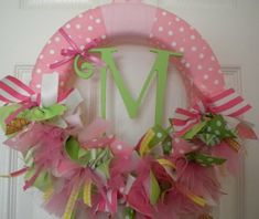 new baby girl ribbon wreath for baby shower, nursery, or hospital door. by maxine