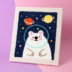 DIY Punch Needle Embroidery Starter Kit Rug Hooking for home Decoration-Polar Bear - diy knitting Knitting Blogs, Knitting Wool, Knitting Stitches, Punch Needle Kits, Punch Needle Patterns, Embroidery Patterns, Hand Embroidery, Rug Hooking Kits, Creative Gifts