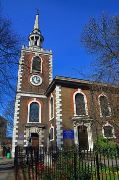 St Mary the Virgin church at Rotherhithe. Well known for its connections with the Pilgrim Fathers who started from here on their voyage to New England in 1620 on the Mayflower; the ship's captain, Christopher Jones, was a local and is buried in the churchyard.