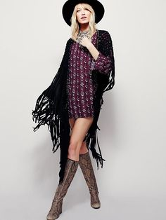 Vegan suede macrame shawl featuring statement fringe trim. With metal bead accents. - Vegan Suede - Metal - Imported - Length: 53""