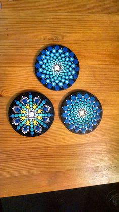 Wood Magnet ~ Turquoise to Bright Blue ombre Progression Mandala ~Hand Painted by Miranda Pitrone~ Dot art pointillism Gift Idea by P4MirandaPitrone on Etsy