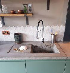 Love Renovate — Renovation tour - a house transformed into a stylish boho family home Concrete Worktop Kitchen, Concrete Sink, Eclectic Kitchen, Stylish Kitchen, House Extension Design, Glass Extension, 1930s House Renovation, Barn Kitchen, Kitchen Styling