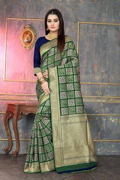 Banarasi silk weaving saree with all over checks weaves with rich zari pallu and blouse Art Silk Sarees, Banarasi Sarees, Ethnic Gown, Buy Sarees Online, Formal Shirts, Saree Styles, Saree Blouse Designs, Saree Wedding, Online Boutiques