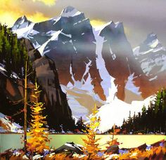 Michael O'Toole - 4 of 10 Peaks - Morraine Lake Watercolor Landscape, Abstract Watercolor, Landscape Art, Landscape Paintings, Watercolor Paintings, Canadian Painters, Canadian Artists, Art Pictures, Art Images