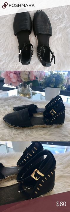 KENNETH COLE Leather Espadrille Flats Worn inside, excellent condition. Perfect feminine edge. Does not come with box. Kenneth Cole Shoes Espadrilles