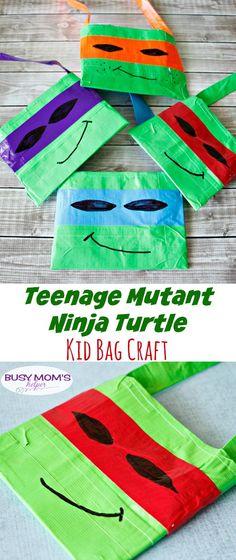 TMNT Kid Bag Craft / by BusyMomsHelper.com / Teenage Mutant Ninja Turtles / Craft for Kids / Activity for Kids / Ductape Crafts / Duck Tape purse