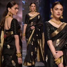 Whaaaat A Beautaayyyy 😍😍😍😍 Elegant walks for a designer at a fashion trail in Delhi Yesterday ❤️ . Trendy Sarees, Stylish Sarees, Fancy Sarees, Saree Blouse Neck Designs, Saree Blouse Patterns, Indian Beauty Saree, Indian Sarees, Indian Gowns, Saree Jewellery