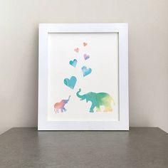 Printable Watercolor Elephants Hearts Wall Art Nursery