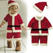 Baby Kid Boys Christmas Suits Xmas Santas Clothes Jumpsuits + Hat Cosplay Outfit(China (Mainland))
