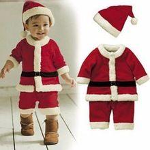 Baby Kid Boys Christmas Suits Xmas Santas Clothes Jumpsuits + Hat Cosplay Outfit(China (Mainland))