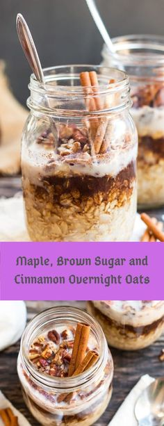 A super simple and easy way to make Maple, Brown Sugar and Cinnamon Overnight Oats in a jar! Fill your mason jar with rolled oats, maple syr. Healthy Make Ahead Breakfast, Nutritious Breakfast, Breakfast Dishes, Breakfast Recipes, Breakfast Ideas, Brunch Recipes, Dessert Recipes, Brunch Ideas, Weeknight Dinners