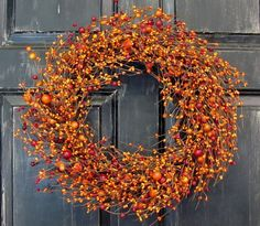 Front Door Wreath Fall   Orange & Red  Berry by Designawreath, $53.95