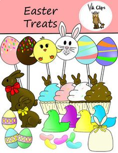 This 36 piece set comes with 26 vibrant colored images, and 10 black and white versions of Easter fun! This set includes: - 3 different candy pops (chick, bunny, and eggs)- Chocolate bunnies- Easter eggs- Cupcakes- Jellybeans- Peeps- and a loot bag to hold your goodies!Each treat is saved as it's on image so that you can easily layer one image on top of another, and add as many as you want in the loot bag.