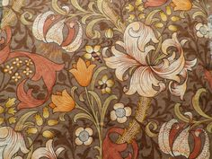 Vintage Sanderson William Morris Linen Fabric Brown 'Golden Lily' Offcut in Collectables, Sewing/ Fabric/ Textiles, Fabric/ Textiles | eBay