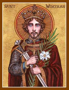 Wenceslaus icon by Theophilia on deviantART ~ watercolor, ink & gold leaf Religious Images, Religious Icons, Religious Art, Catholic Art, Catholic Saints, Roman Catholic, Catholic Store, St Wenceslaus, Mystique