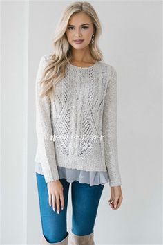 Silver Sparkle Sweater | Cute Comfy Cardigans and Sweaters for Fall and Winter | Modest Dresses for Church