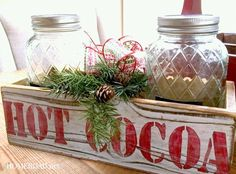 A compact, easy to move Simple Hot Cocoa Station Gift idea, made with Funky Junk's Old Sign Stencils. www.homeroad.net