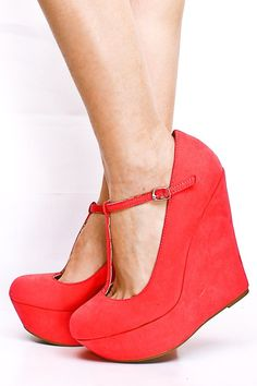 Red T-Strap Wedges