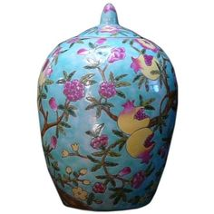 Chinoiserie Floral Pomegranate Jar ($380) ❤ liked on Polyvore featuring home, home decor, ginger jars, handmade home decor, porcelain ginger jar, porcelain jar, floral home decor and colorful home decor