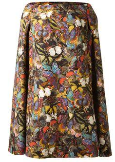 Valentino Robes :: Robe cape en laine et soie imprimé papillon Valentino | Montaigne Market