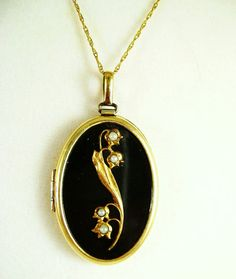 Antique Black Enamel 14K Locket with Seed by Mosaicsandjewelry, $395.00