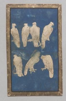 A seven of falcons playing card from the Ambras Hunting Deck. Swiss (?), pen and ink, gouache, gold, and paper on board, circa 1440-1445. Dimensions: 15.8 x 9.8 cm. Courtesy of KHM Bilddatenbank website.