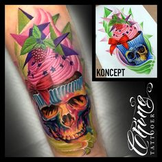 #tattoo #tattoos #tattooed #tatted #tattooart #art #tattooartist #artist #tatts #tattooer #tattooist #tattooing #ink #inked #inklife #inkedup #inkstagram #color #colortattoo #cupcakes #skull #skulltattoo #cupcakes #cupkaketattoo