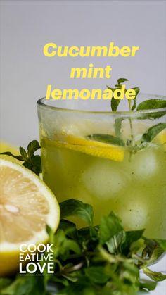 Cucumber Lemonade, Cucumber Cocktail, Cucumber Drink, Mint Lemonade, Lemonade Cocktail, Green Alcoholic Drinks, Green Cocktails, Lime Drinks, Drinks Alcohol
