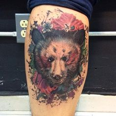 #tattoo#bear#beartattoo#ink#inked#gallonegrocrew#flowers#artist#gallonegro#beardesing#ilustration