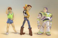 LOL Woody looks much cooler, thanks goodnes! The hotest Toy Guys Disney Pixar, Disney Xd, Disney Descendants, Disney Toys, Disney Fan Art, Cute Disney, Disney And Dreamworks, Disney Cartoons, Disney Animation