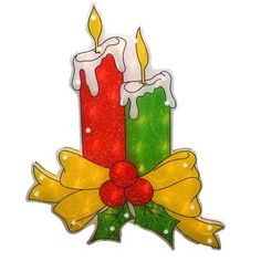 """17"""" Lighted Double-Sided Shimmering Candle Christmas Window Silhouette"""