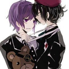 ((Kanato/Azusa RP)) The lilac-haired vampire yanked roughly at the bandages held tightly in his grasp, pulling his rival closer to him.Their faces were inches apart as glaring purple eyes met hazy grey ones.A small, almost silent moan was heard from Azusa's throat after a moment. The feeling of Kanato yanking his bandages harder, causing him to choke the slightest bit, filled him with pleasure.''Kanato-san…tug harder…''He told the smaller vampire.