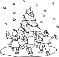 The Child Revel In The Christmas Tree Coloring Page