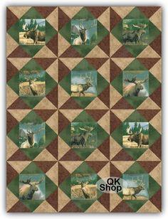 Big Game Animal Elk Deer Moose Pre-Cut Quilt Kit