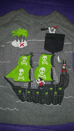Boys size 7 Pirate decor Shirt long Sleeve Gray with design (A157) #JumpingBeans #Everyday