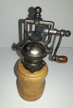 Wood Mounted, Hand Crank Pepper Mill Grinder - Steam Punk Style   Collectibles, Kitchen & Home, Kitchenware   eBay!