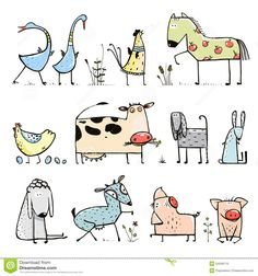Illustration of Funny Cartoon Farm Domestic Animals Collection for Kids vector art, clipart and stock vectors. Deer Cartoon, Cartoon Kids, Cute Cartoon, Farm Cartoon, Simple Cartoon, Cartoon Drawings, Easy Drawings, Animal Drawings, Funny Illustration