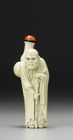 A CARVED PALE-YELLOW PORCELAIN 'HUGONG' SNUFF BOTTLE<br>QING DYNASTY, 19TH CENTURY | lot | Sotheby's