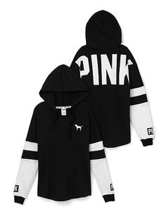 Varsity Hoodie PINK JD-327-355 (6QK) This classic hoodie is super comfy thanks to an oversized fit and tunic length that's perfect with leggings. Must-have sweats by Victoria's Secret PINK. Oversized Print graphics Our lightest French Terry Longer, tunic length Imported cotton/polyester