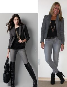 J's Everyday Fashion provides outfit ideas, budget fashion, shopping on a budget, personal style inspiration, and tips on what to wear. Grey Skinny Jeans Outfit, Grey Blazer Outfit, Blazer Outfits For Women, Casual Outfits, Fashion Outfits, Work Outfits, Gray Outfits, Female Outfits, Grey Slacks