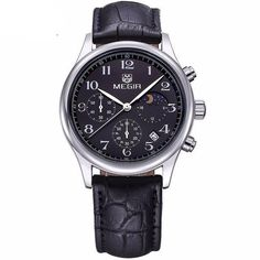 Megir Moonphase Leather Watch | SILVER + BLACK