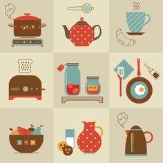 33 new ideas kitchen utensils drawing wall decor Disney Princess Cupcakes, Diy Concrete Countertops, Coffee Bar Home, Coffee Poster, Diy Wedding Bouquet, Kitchen Wallpaper, Kitchen Utensils, Illustration, Book Art